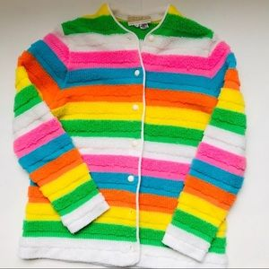 Vintage Bright Striped Button Up Cardigan Sweater